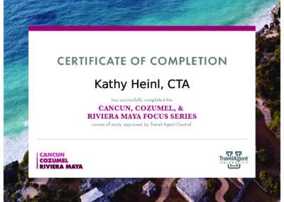 Cancun Cozumel Riviera Maya Certificate