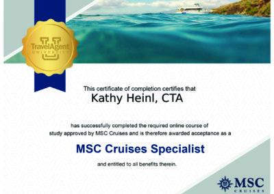 MSC Cruise Certificate