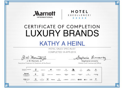 Marriot Luxury Brands Certificate