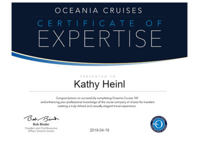 Oceania Cruises Certificate of Expertise
