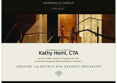Shangri-La Group Specialist Certificate