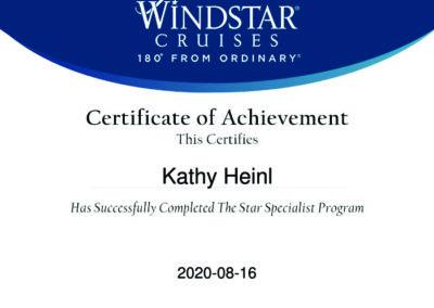 Windstar Cruises Certificate