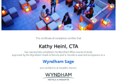 Wyndham Hotels & Resorts Sage Certificate